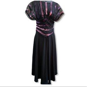 Vintage black dress with purple sequins